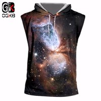 sudaderas con capucha sin mangas al por mayor-OGKB Summer Cool Tanks Unisex Fitness Casual Chaleco con tapa Hombres / mujeres Print Starry Night 3D sin mangas Tank Top Sleeveless Hoodies