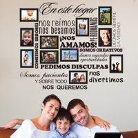 ingrosso regole casa vinile-Fai da te Famiglia Photo Frame Sticker Casa spagnola Regole inos Amamos rimovibile Vinile Stickers murali Wall Art Home Decor Decorazione della casa