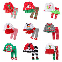 Wholesale children christmas clothing for sale - Kids Girls Christmas Clothing Sets Xmas Ins Outfits Cotton Floral Striped Suits santa Children Long Sleeve Dress Clothes GGA795 sets