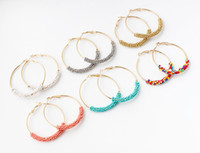 Wholesale simple korean girls - Korean Fashion Jewelry Beads Big Circle Earrings Temperament Simple And Elegant Earrings Girl Bead Hoop Earrings With 7 Color Options H132R