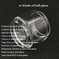 ingrosso bulbo di vetro per la penna vape-Tubo di vetro di ricambio per lampadina Unimax 25 Captain x3 Spirali Uforce T1 Penna di vape 22 Light Edition ProCore Conquer Diamond iJust Zeus DHL