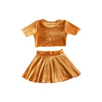 Wholesale Summer Baby Skirt Top - Baby Gold velvet outfits 2018 new girls top+skirts 2pcs set INS kids Clothing Sets C3513