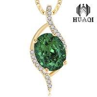 множественные ожерелья шарма оптовых-DOTSHE зеленый кристалл длинная кулон ожерелье несколько мелких кристаллов овальной классический ожерелье