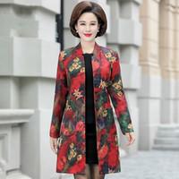 çiçek palto toptan satış-İlkbahar Sonbahar Kadınlar Çiçek Baskılı Uzun Trençkot Bayanlar Casual V Yaka Tek Breasted Rüzgarlık Artı Boyutu Kadın Palto
