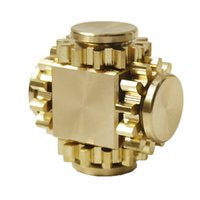 Wholesale copper spinners - Gear Fidget Cube Spinner Tri Spin Hand Toy Finger Games Smooth Surface Metal Brass Copper with Stable Bearing EDC Gold
