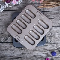 Wholesale Hot Dog Coats - Carbon Steel Nonstick Coating Baking Moulds Health Multifunction DIY Cake Mold 8 Continuous Mini Hot Dog Molds Oval 14yt X