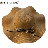 2711c19e6c6 BUTTERMERE Womens Straw Hats Wide Brimmed Summer Elegant Panama Hat Ladies  Beach Spring Fashion Designer Casual Bowknot Sun Hat