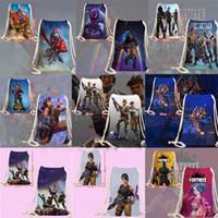 Wholesale teenager canvas backpack - 21 colors Fortnite Cosplay backpack teenager Drawstring bag Cartoon print bags Kids Gift 35*50cm Drawstring pocket MMA169 66pcs