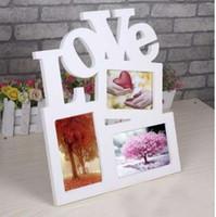 drei bilderrahmen großhandel-Hohl Liebe Design Holz Bilderrahmen DIY Bilderrahmen 1 stücke Art Home Desk Decor Drei Windows schnelles verschiffen DIY Bild