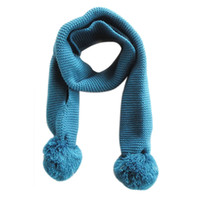 Wholesale Muffler Scarf Solid - winter little Kids scarves Knitting Wool Double ball wool knit Solid infants muffler shawl neckerchief 120*9cm 2-6Year 4 colours