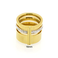 Wholesale Ring Wedding Pair Gold - New Fashion Jewelry Stainless Steel 18K Gold Plated Gold Three Ring Pairs Couple Wedding Ring Rose Gold High Jewelry Gift