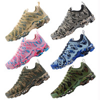 Wholesale camouflage women boots - 2018 Vapormax TN Plus Olive In Metallic Camouflage Running Shoes Men Women Fashion Designer TOP Quality Sports Sneakers