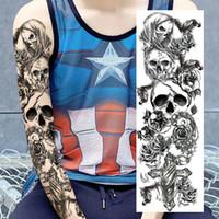Wholesale Tattoo Arm Dragons - 48*17cm Full Arm Temporary Tattoo Sticker Waterproof Long Lasting Clear Tatto Skull Dragon Devil Monster Big Tatoo Beauty Gift