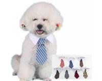 носовые галстуки для кошек оптовых-New Pet Dog Галстук в полоску Cat Cat Симпатичные собаки Галстук Свадебный Регулируемый Щенок