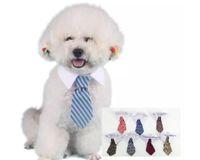 collar del gato corbata de lazo al por mayor-Nuevo perro de mascota Collar de corbata a rayas Arco de gato Corbata de perro lindo Cachorro ajustable