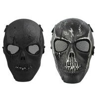 esqueleto de metal completo venda por atacado-Na Venda Malha Do Exército Máscara Completa Máscara de Esqueleto Do Crânio Airsoft Paintball BB Gun Jogo Proteger Máscara de Segurança Masquerade Para homens