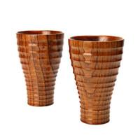 ingrosso set di tè moderni-Tazza di legno fatta a mano di alta qualità per acqua Birra Caffè Bicchieri da bicchieri Tazze di legno Bicchieri da tè Accessori da cucina QW7132