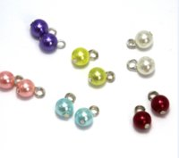 Wholesale silver pearl charms resale online - 100pcs The Pearl Charms Antique Tibetan silver tone pearl Stitch Markers imitation Charms pendants x8x8mm