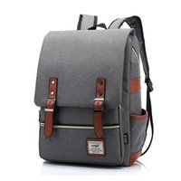 Wholesale unique canvas backpacks - Vintage Women Canvas Daily Backpack Teenager Girls Boys Fashion School Bags Student Campus Mochila Unique Men Travel Rucksack