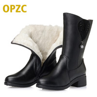 Wholesale wool lined snow boots - 2017 winter new genuine leather women boots thick wool lined female snow boots with Plus size 35-43 # women's motorcycle