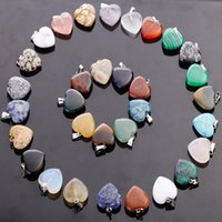 Wholesale wholesale stone beads mixed - Hot fubaoying Heart Shape Love Gem Stone Mixed Pendants Loose Beads for Bracelets and Necklace Charms DIY Jewelry for Women Gift free