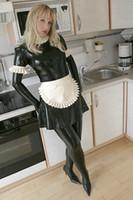 ingrosso abiti in lattice di gomma-(LS22) Vestito sexy nero da cameriera in lattice con grembiule in lattice bianco