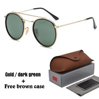Wholesale green bridges - High quality Round Sunglasses for Men women Alloy frame Mirrored uv400 lens double Bridge Retro Eyewear with free brown cases and box