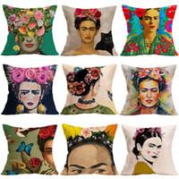 tablo yastık kılıfları toptan satış-Frida Kahlo kendi kendine portre Sanat Yastık Yağlıboya Kapakları Frida Çiçek Minder Kapak Kanepe Dekoratif Keten Pamuk Atın Yastık Kılıfı