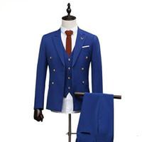 erkek takım elbise smokinleri toptan satış-Yeni Kraliyet Mavi Kruvaze Erkekler Blazer Ceket Damat Smokin Adam Balo İş Takımları (Ceket + Pantolon + Yelek + Kravat)
