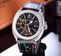 Wholesale square watch date leather mens - New 44mm JEANRICHARD Terrascope 60500 Limited Edition Graffiti Desig Steel Case Black Dial Automatic Mens Watch Leather Date Luxury Watches