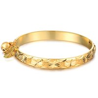 bracelet en alliage chinois achat en gros de-Toute venteNouvelle Mode Or Cloche Coeur Bracelet Enfants Garçons Filles Bébé Enfants Bijoux Bracelet Jonc CX23