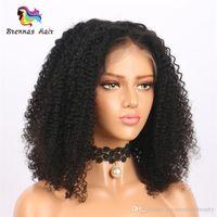 brezilya fabrikası toptan satış-Ücretsiz Kargo Fabrika Fiyat İnsan Saç Dantel Ön Peruk Bob Afro Kinky Curl Doğal Siyah Brezilyalı Malezya Moğol Remy Saç