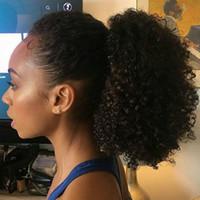 kızlar atkuyruğu saç uzantıları toptan satış-Siyah kızlar Için at kuyruğu Saç Uzantıları Kinky Kıvırcık 120g Renk # 1B Doğal Siyah 100% Virgin İnsan Saç PonyTail Uzantıları 120g 16