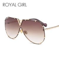 marcas gafas de sol niñas al por mayor-ROYAL GIRL Fashion Sunglasses Hombres Mujeres Marca Diseñador Marco de Metal de Gran Tamaño Personalidad de Alta Calidad UV400 Unisex Gafas de Sol ss678