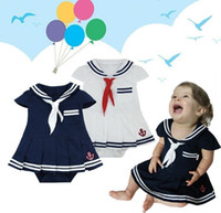 Wholesale navy dress uniform - Newborn baby clothes White Navy Sailor uniforms summer baby rompers Short sleeve one-pieces jumpsuit baby girl dress