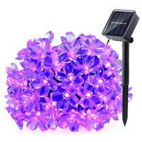Wholesale fairy flower garden - Solar LED Strings Lights 21ft 50 LEDs Fairy Flower Blossom Christmas Party Lights Garden Lamp Waterproof Outdoor Night Lights