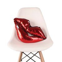Wholesale red decor pillows - Double Color Sequins Pillow Sexy Red Lip Shape Decorative Throw Pillows For Car Home Decor Cushion High Quality 16js XB