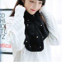 ingrosso lunghe perle faux-Nuovo design di lusso inverno Faux Fur collo sciarpa sovrapposizione Furry Wrap Scialle Stola Cape lunga perla sciarpa M2A95732