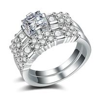 anéis de zircônio mulheres venda por atacado-Best Sellers Moda Zirconium Anel De Pedra Chapeamento 925 Banhado A Prata 18k Homens e Mulheres de Ouro Amantes de personalidade de Cobre Sim anel