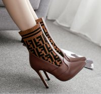 rahat mid buzağı botları toptan satış-Orta Buzağı Çizmeler Yün Örgü renkli Mektubu not Kayma Kadınlar Kış Şövalye Çizmeler rahat Çizmeler Örme Yüksek ayakkabı kadın 40