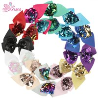 Wholesale hair bows for women - XIMA 12pcs lot 4.5inch Girls Hair Bows Reversible Sequin Bows Hair Clips Grosgrain Ribbon Bows Hair Accessories for Kids Women