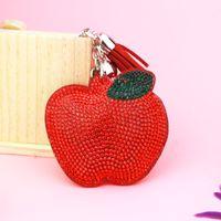Wholesale Velvet Accessories - Korea velvet Set with diamonds Key buckle Fashion Apple pattern Package Pendant Tassel key ring gift 9 colors Accessories