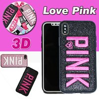 Wholesale Design Bling Case - For iPhone X Case 3D Embroidery Love Pink Design Glitter Bling Ultra-Slim Fashion Soft TPU Shockproof Letter Cover For iPhone 8 Plus 7 6 6S