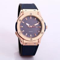 210150d30 dropshipping atacadistas fornecedores barato relógio grande homens relógios  2018 marca de luxo designer de couro original de ouro azul face vidro  relógio de ...