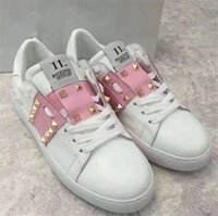 Wholesale Pink Station - European station 2018 new spring brands casual sports rivets British style leather lace flat shoes fashion all match snaker shoes