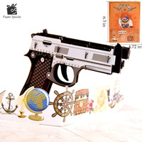 Wholesale Wholesale Thank Cards Wedding - 3D Pop up Birthday Gift Cards Greeting Cards Postcards Wedding Invitations Blank Vintage Colourful Gun Thank You 10pcs
