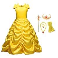 ingrosso costumi gialli-Ragazze principessa Dress up Costume Bambini senza maniche Cartoon Party Cosplay Dress Ragazze Giallo costumi di carnevale Compleanno Ball Dress