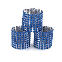 hebillas de anillos al por mayor-50 Unids Plástico Rhinestone Envoltura Royalblue Servilletero Servilleta Servilleta Hotel Boda Suministros Estilo Europeo Hogar Silla Decoración