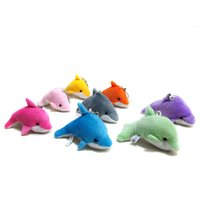 Wholesale dolphin plush online - Lovely Mini Cute Dolphin Charms Kids Plush Toys Home Party Pendant Gift Decorations OTH583