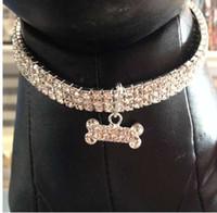 köpekler elmas taklidi tasma toptan satış-Bling Rhinestone Köpek Tasması Pet Kristal Elmas Pet Yaka Boyutu S / M / L Yaka Tasmalar Kolye Köpek Aksesuarları
